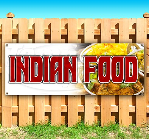 Indian Food 13 oz Heavy Duty Vinyl Banner Sign with Metal Grommets, New, Store, Advertising, Flag, (Many Sizes Available)