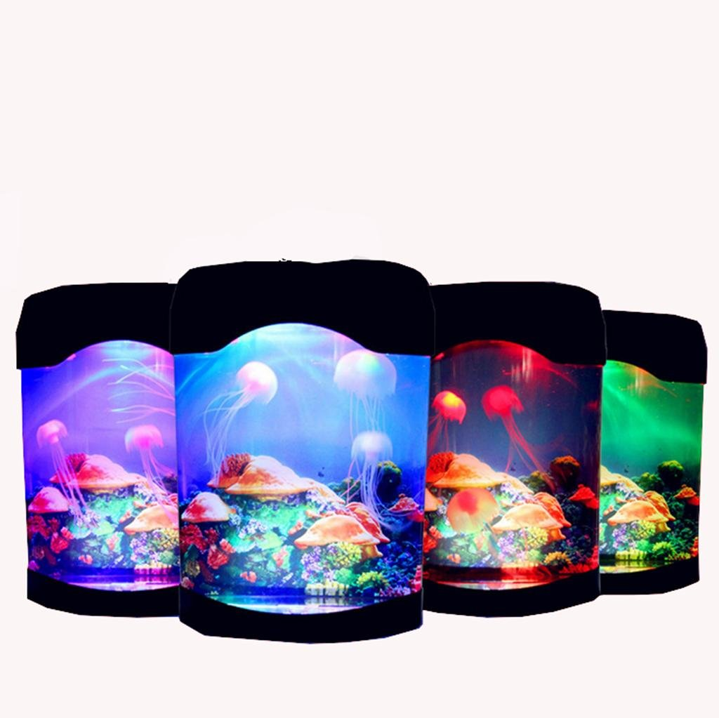 AN-LKYIQI Regalos de moda creativa medusas coloridos coloridos acrílico LED Fabricación de tanque de los pescados escritorio mini-acuario: Amazon.es: ...