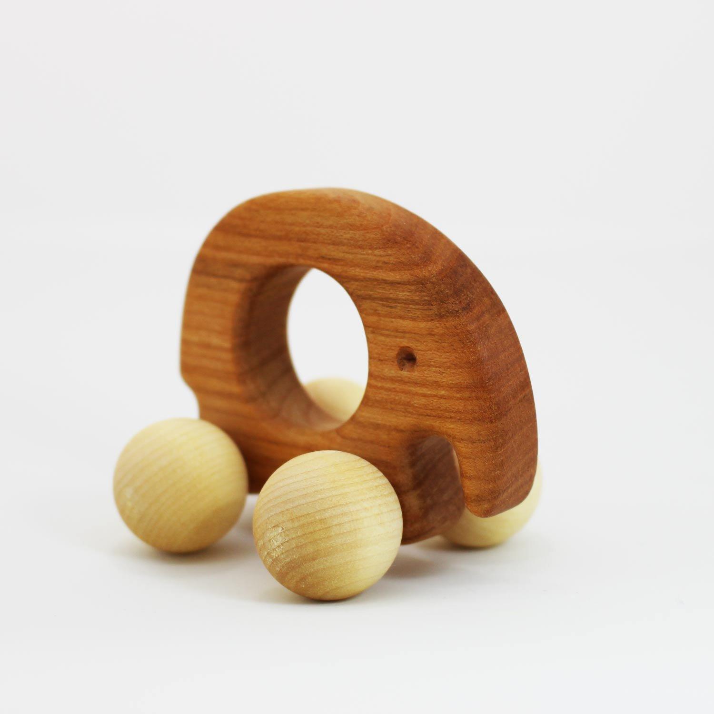 Greifling Elefant Kirschbaum | Holz Beiß ring - Spielzeug aus Holz fü r Baby Mä dchen und Jungen