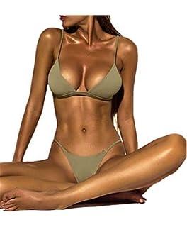 3818f5ab98a Dressin Women's Bikini Set Sexy Solid Push-up Padded Bra Swimsuit Two Piece  Tankinis Bathing