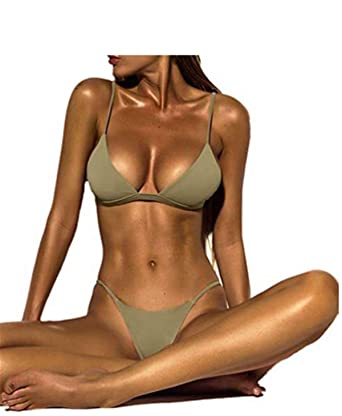 b9bdf85bce9 Dressin Women's Bikini Set Sexy Solid Push-up Padded Bra Swimsuit Two Piece  Tankinis Bathing