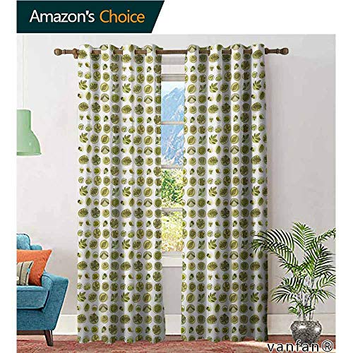 Big datastore Easy Care Privacy Protection Grommet Window Panels,LeavesHand Drawn Foliage Illustration with Doodle Style Circles Berries and Acorns,2 Pieces,Pale Green Black,W84 xL108