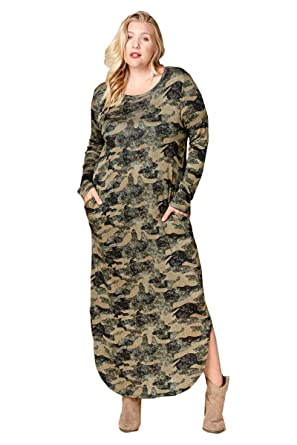 Nyteez Women s Plus Size Camouflage Long French Terry Knit Nightgown Dress 30c7e57c0