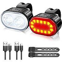 Led-fietslamp, voorlicht + achterlicht, fietsverlichtingsset, USB-fietslamp, voor- en achterlichtgroep, 4+6 lichtmodi…