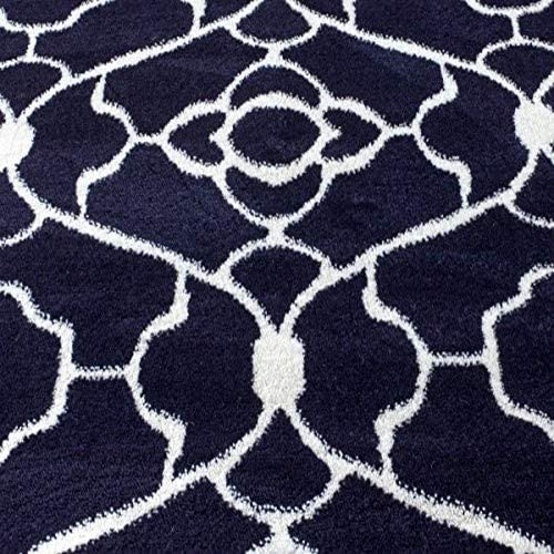 New Summit Elite S 67 Navy Blue White Trellis Garden Modern Abstract Area Rug 5×7 Actual is 4 .10 x 7 .2
