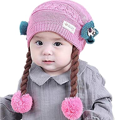 b89b998f7fd Amazon.com  Yiiena Baby Girl Winter Warm Bow Knot Wig Decoration Knitted  Beanie Cap Hats   Caps  Clothing