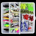 OriGlam ?Happy Shopping Day? 101PCS Fishing Lure Set Fishing Tackle Lots,Portable Fun Fishing Baits Kit Set for Saltwater and Freshwater
