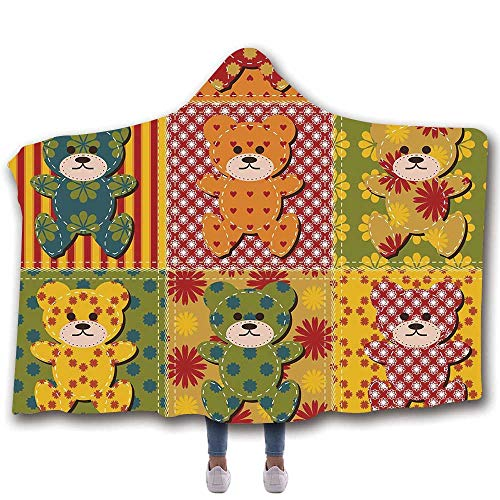 MOOCOM Cabin Decor Durable Hooded Blanket,Colorful Kids Room Pattern with Patchwork Style Teddy Bears Cute Funny Childish Decorative for All Seasons,60