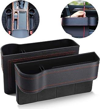 2Pcs Black Car Seat Gap Storage Box Cup Holder Organizer PU Leather Small Items