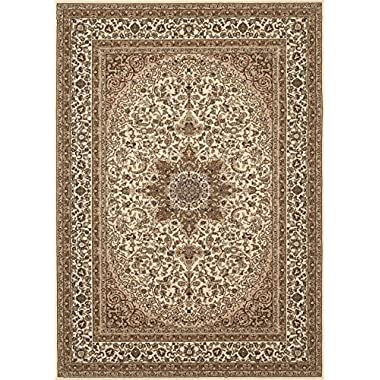 Traditional Oriental Cream High Quality Medallion Design 5'3  X 7'3  Area Rug
