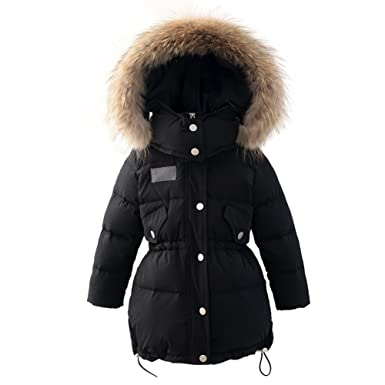 bd3b0ae4aeea Amazon.com  Hiheart Girls Fur Hooded Puffer Down Jacket Heavy Weight ...