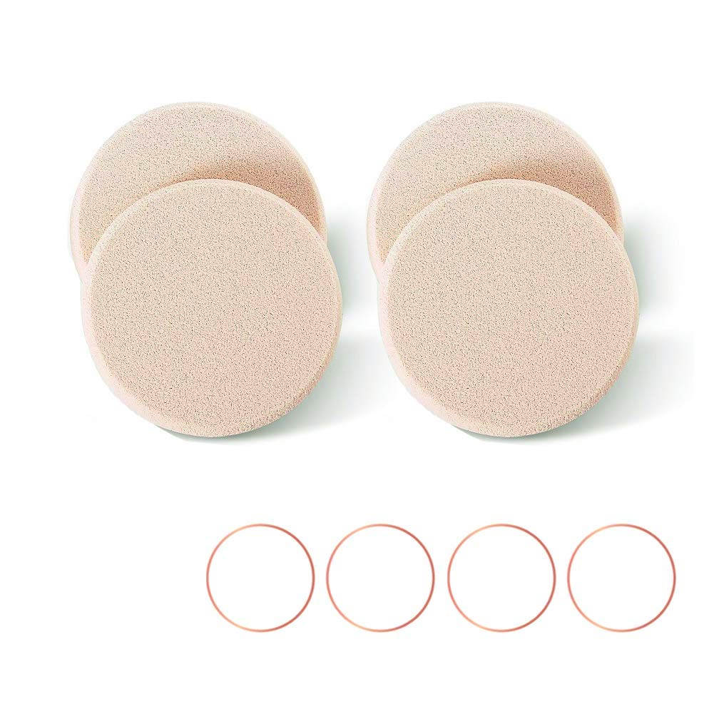 KOOBA 4pcs Round Makeup Sponges Supplement, Beauty Face Primer Compact Powder Puff, Blender Sponge Replacement for Cosmetic Flawless Foundation, Sensitive and All Skin Types