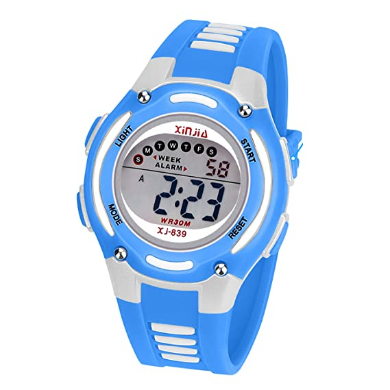 Reloj Digital para Niños Niña, Impermeabl Deportes al Aire Libre LED Multifuncionales Relojes de Pulsera con Alarma: Amazon.es: Relojes