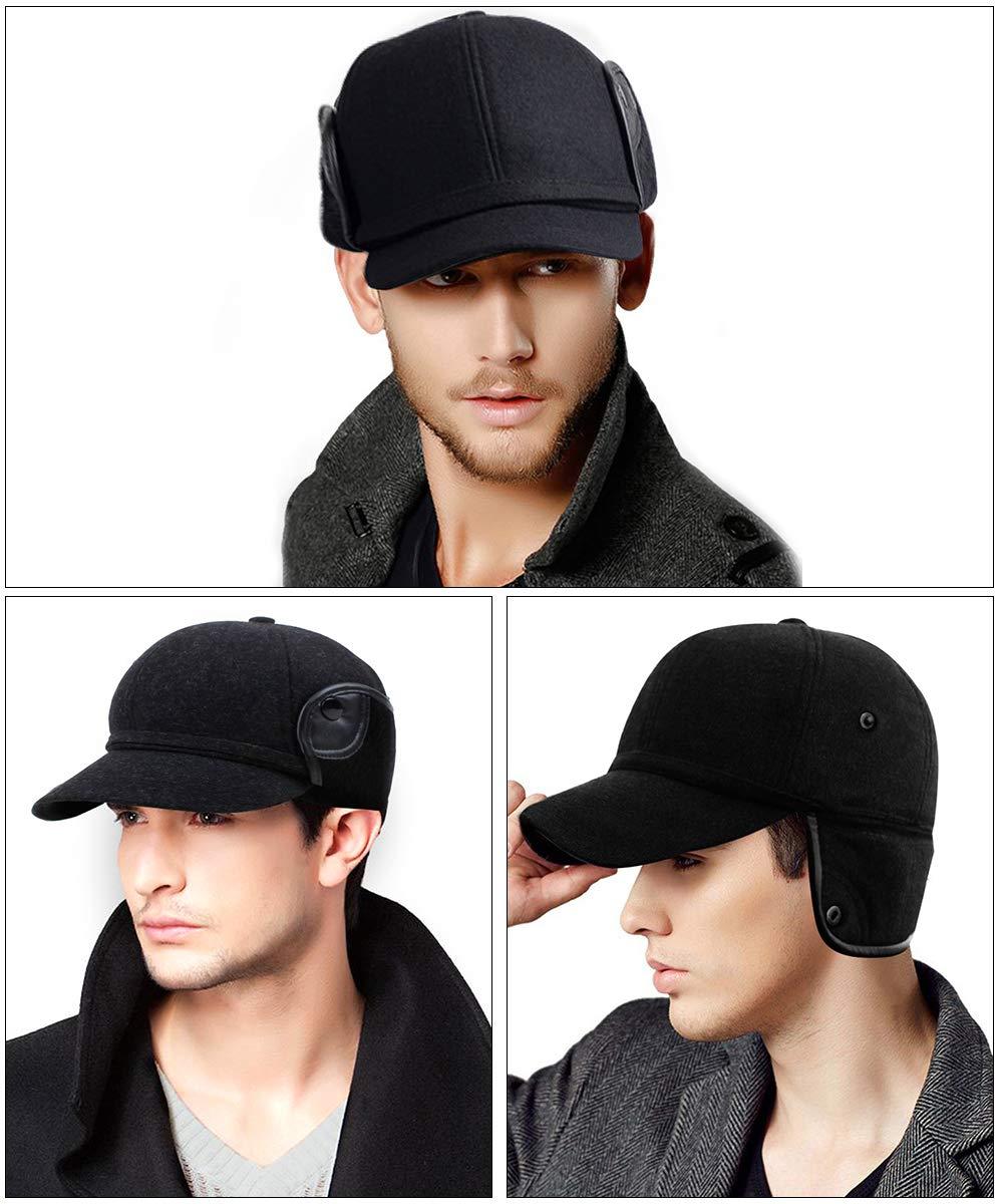 YOYEAH Winter Wool Baseball Cap Outdoor Windproof Fleece Earflap Hat Soft Faux Fur Hunting Hat for Men Black by YOYEAH (Image #7)