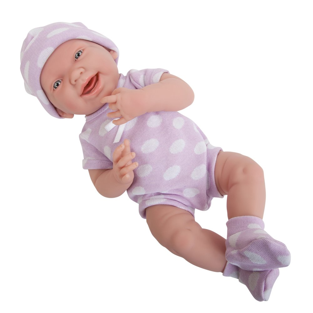 Purple Polka Dot JC Toys 18052 La Newborn Baby Doll, bluee Star, 15