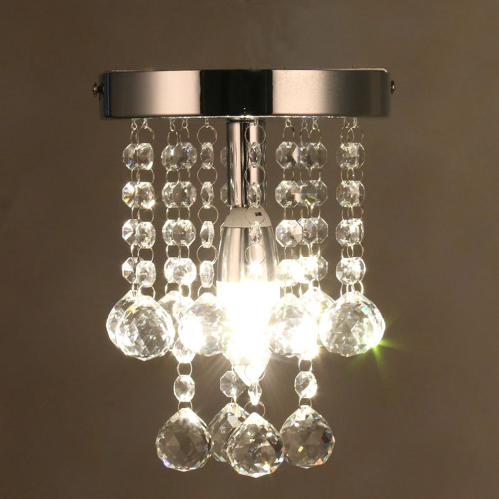Modern small crystal chandeliers chrome ceiling light crystal flush mount light for hallway bedroom living room barthroomsilver amazon com