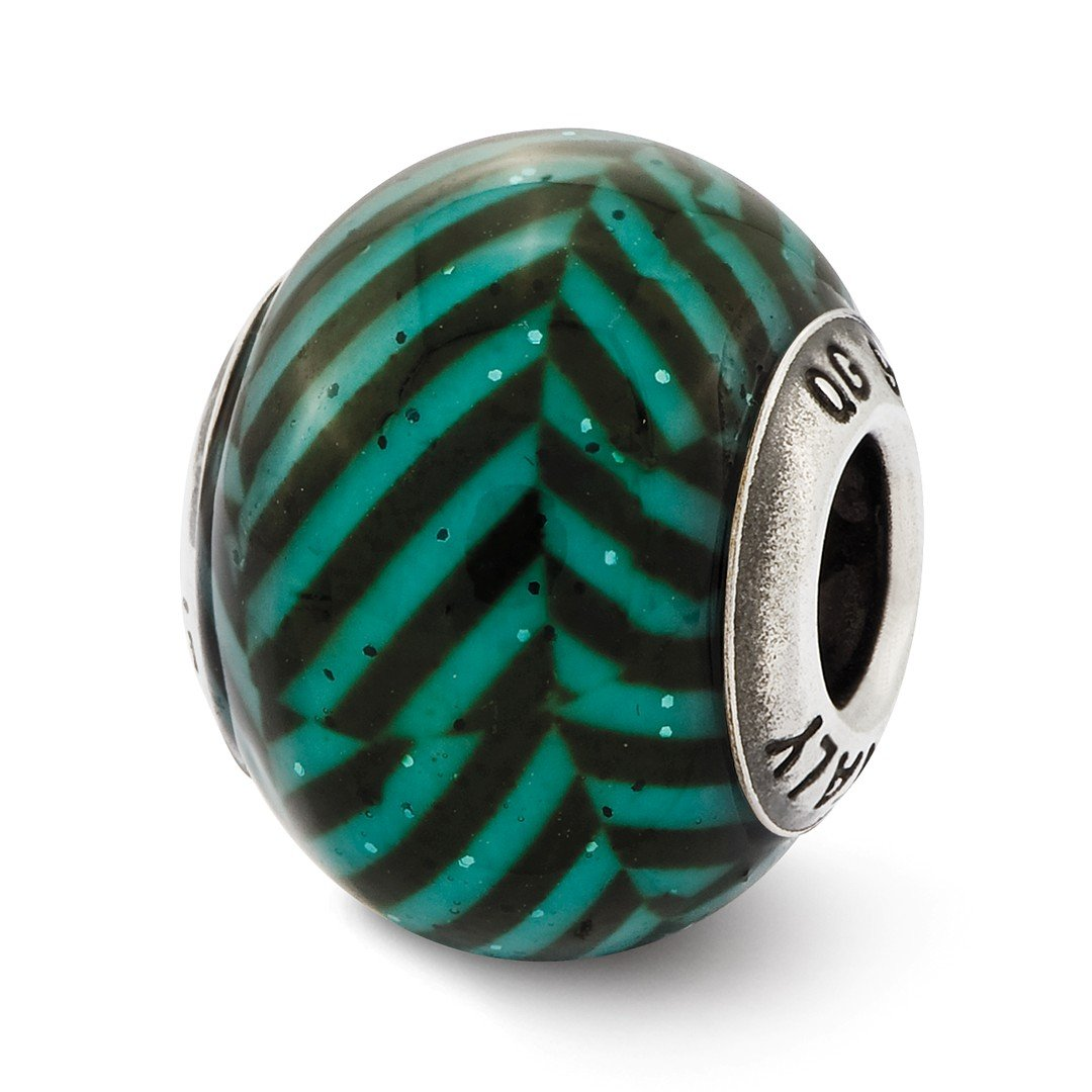 ICE CARATS 925 Sterling Silver Charm For Bracelet Italian Teal Stripes Glitter Glass Bead Overlay Designed Glas Fine Jewelry Ideal Gifts For Women Gift Set From Heart