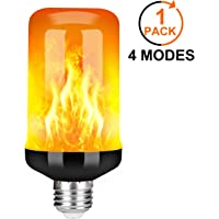 Y- STOP LED Flame Effect Fire Light Bulb - Upgraded 4 Modes Flickering Fire Halloween Decorations Lights - E26 Base Flame Bulb with Upside Down Effect (Black-1 Pack)