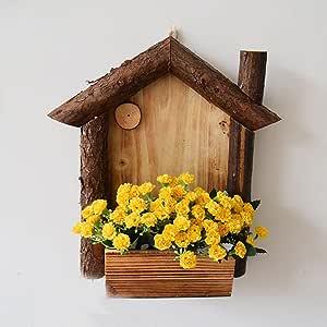 yournelo Pergola de pared de madera Creative flores maceta jarrón ...