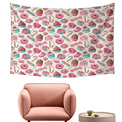Agoza Wall Tapestry for Bedroom Candy Cane Yummy Sweet Lollipop Candy Macaroon Cupcake and Donut on Polka Dots Pattern Tapestry for Home Decor 74
