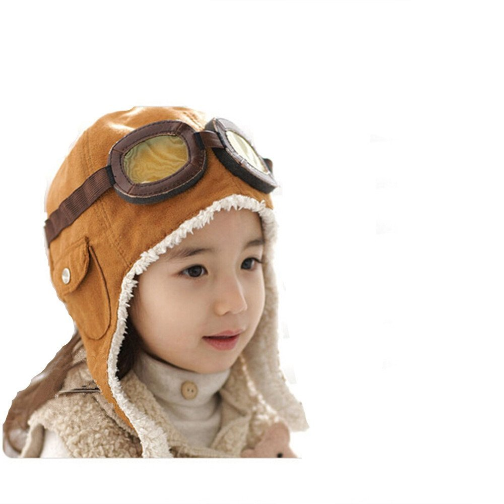 Amazon.com  Global tesco Warm Baby Knitted Earflap Cap for Winter Flight  Ear Hat (Brown)  Clothing 53ae94260c5c