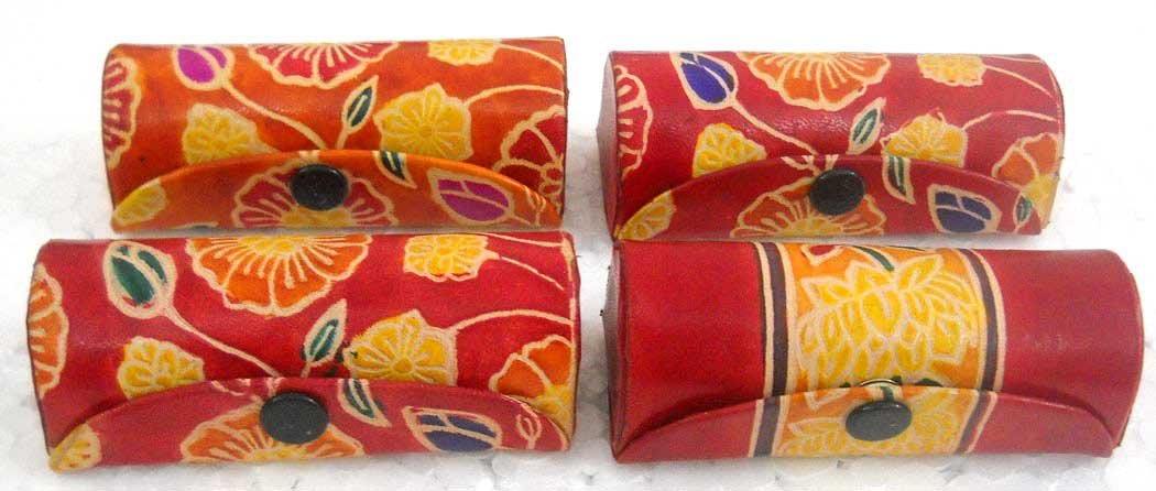 10 Pcs : Wholessale assorted lot of Ethnic Hand Embossed Colorful Floral Design Lipstick cases with Mirror-Shantiniketan Pure Leather