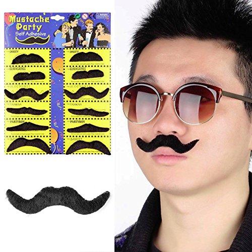 Sygrand(TM) Hot Worldwide 12pcs/set Costume Party Halloween Fake Mustache Moustache Funny Fake Beard Whisker -