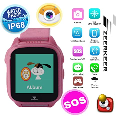 Amazon.com: ZEERKEER Kids Waterproof Smart Watch, Back ...