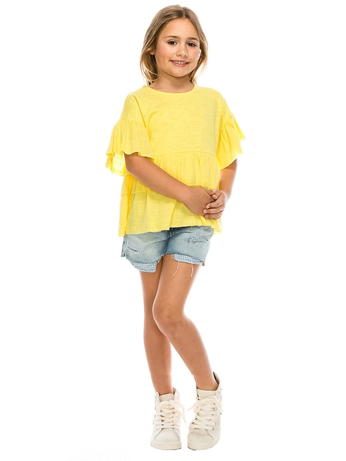 Aaron /& Amber Big Girls Yellow Flared Short Sleeve Ruffle Trim Shirt 6-10