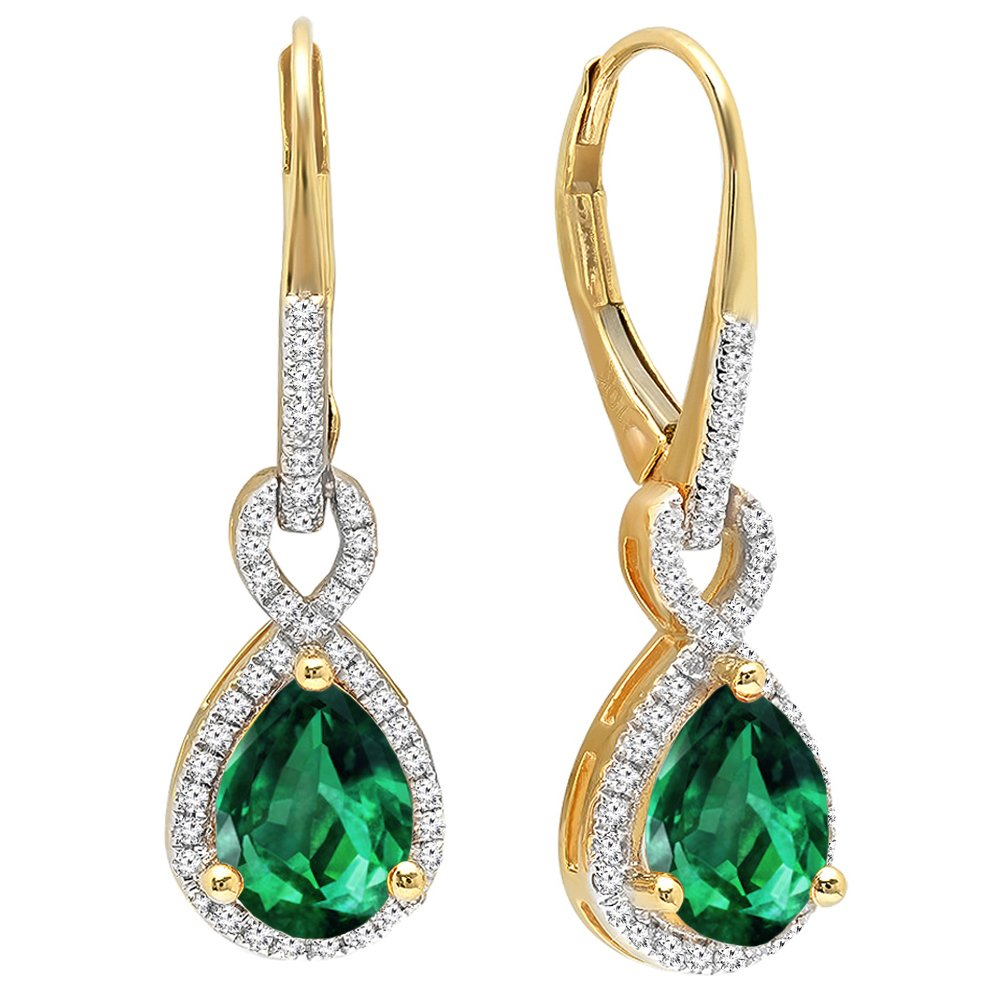 10K Yellow Gold 8X6 MM Each Pear Lab Created Emerald & Round Diamond Ladies Dangling Earrings