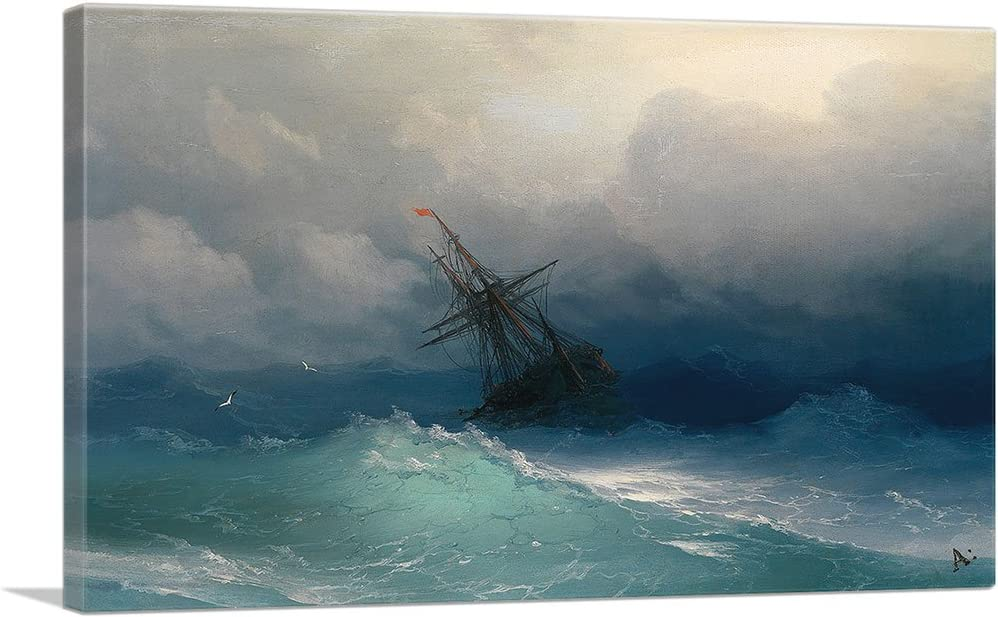 ARTCANVAS Ship in The Stormy Sea 1858 A Art Spring new work Courier shipping free by Print Ivan Canvas