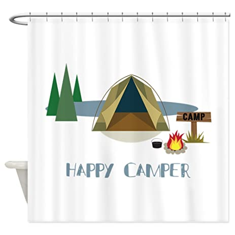 Captivating CafePress   HAPPY CAMPER Shower Curtain   Decorative Fabric Shower Curtain