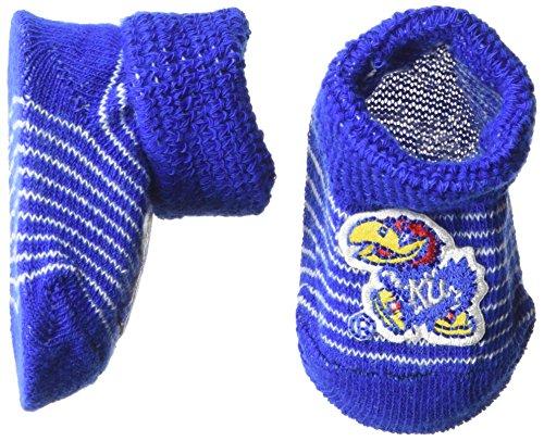 Two Feet Ahead NCAA Kansas Jayhawks Infant Stripe Gift Box Booties, New Born, Royal/White - Kansas Jayhawks Ncaa Stripes