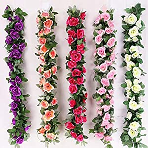 tatoko 2.3 M/86 Silk Flowers Artificial Rose Vines Fake Rose Flower Strip Wedding Decorative Flowers Home Decoration 2PCS 26