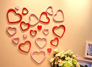 amazon com i choice red heart wall sticker red wooden art heart