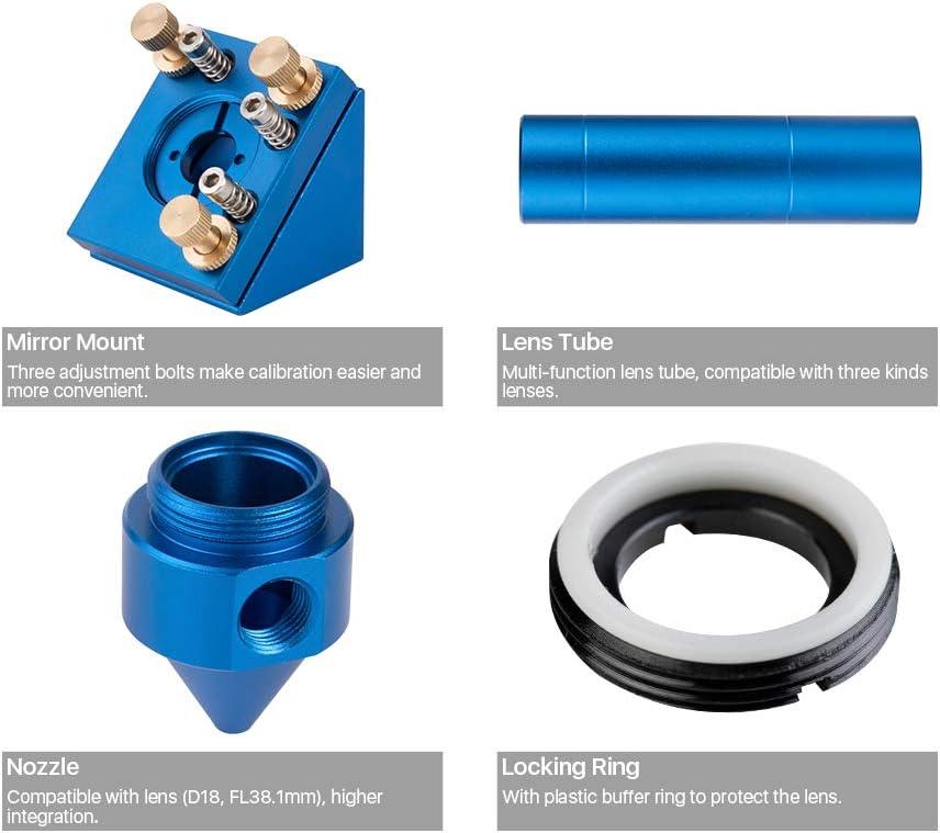 Cloudray Blau E Serie Co2 Laserkopf Für Fokussierlinse D20mm Fl 50 8 Mm 63 5 Mm 101 6 Mm Für Lasergravur Schneidemaschine Baumarkt