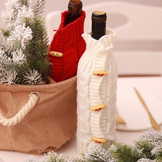 Hemoton 2 piezas de botellas de vino de navidad cubiertas de punto de manga larga botella de botella protector de botella de vino accesorios de decoración de mesa para banquete de fiesta