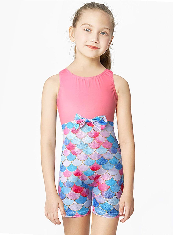 Gymnastics Leotards for Girls with Shorts 3D Print Sparkly Polk Dot Activewear Biketard for 3-7T