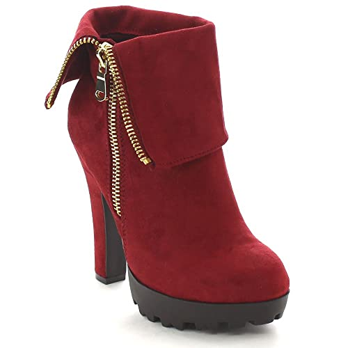 4e723a6a3c Image Unavailable. Image not available for. Color: Wild Diva ELIZABETH-03  Women's Round Toe Chunky Heel Platform Ankle Booties ...