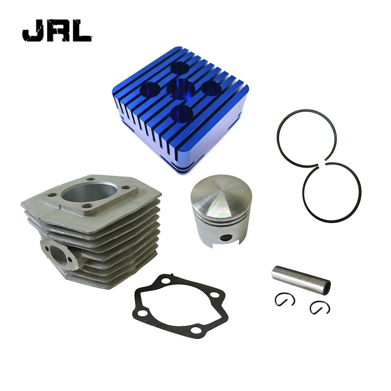 JRL CNC Silver Cylinder Head&Cylinder&Piston For 66cc 80cc Engine Motorized Bike Nantong Power