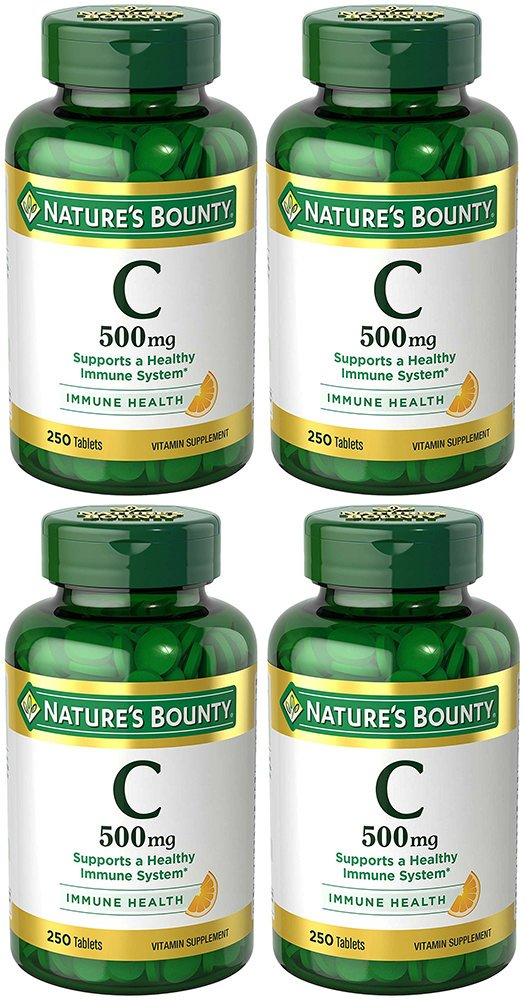 VIT C 500 mg, 4 Bottles (250 Count)