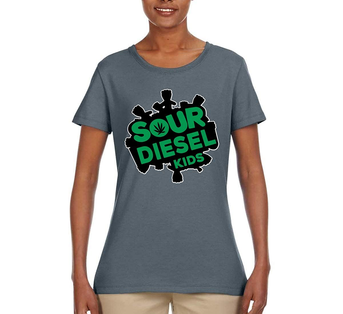 b651cd5b Sour Diesel Funny Candy Logo Parody | Womens Weed Graphic T-Shirt at Amazon  Women's Clothing store:
