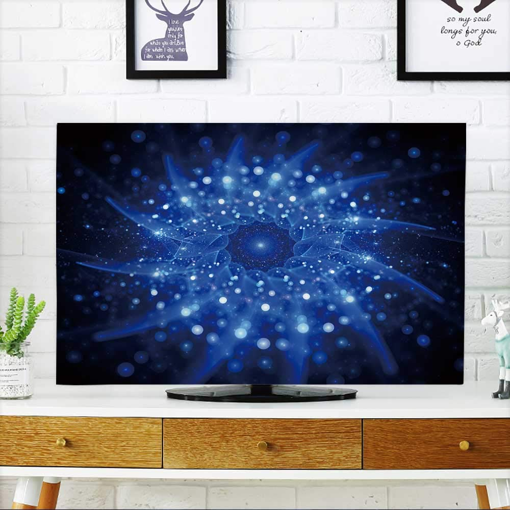 PRUNUS TV dust Cover Blue Glowing Star Shape in Space,Computer generated Abstract Background TV dust Cover W35 x H55 INCH/TV 60''