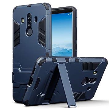 TERRAPIN Huawei Mate 10 Pro Carcasa Híbrida de Silicona + Polycarbonato Doble Resistencia, y Soporte para Mesa - Azul Oscuro
