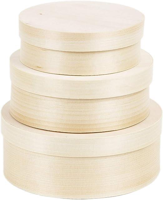 Bartu - Caja de madera con tapa (3 unidades), color natural: Amazon.es: Hogar