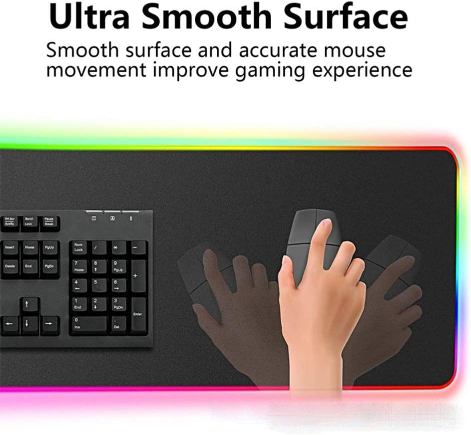with Non-Slip Rubber Base 14 Modes Oversized Glowing Led Extended Mouse Pad PC Desk RGB Gaming Mouse Pad for Computer