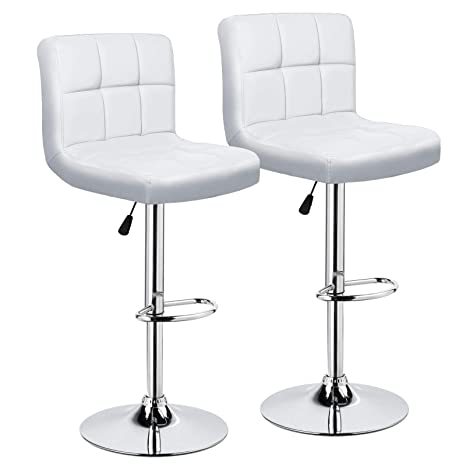 Prime Intimate Wm Heart Adjustable Swivel Bar Stools Set Of 2 White Pu Leather Pub Chairs With Back Machost Co Dining Chair Design Ideas Machostcouk