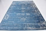Traditional 7 feet by 10 feet (7' x 10') Sofia Blue