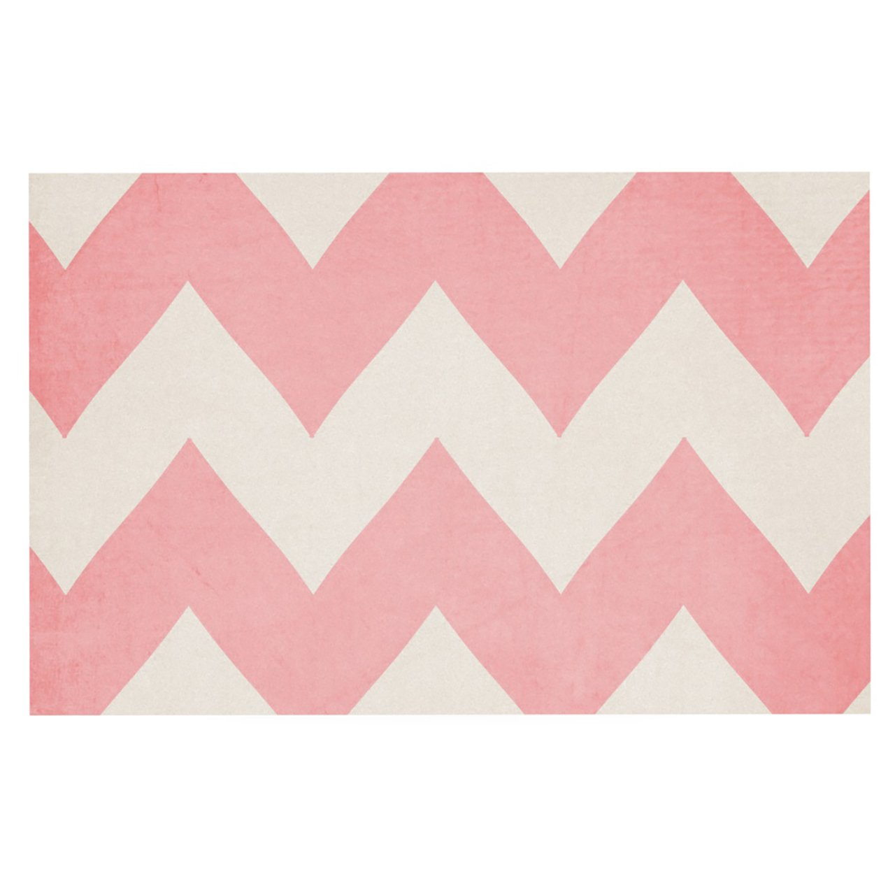 Kess InHouse Catherine McDonald Sweet Kisses Pink Chevron Feeding Mat for Pet Bowl, 18 by 13-Inch