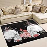 Cheap Naanle Floral Roses Skull Area Rug 5'x7′, Day of The Dead Vintage Polyester Area Rug Mat for Living Dining Dorm Room Bedroom Home Decorative